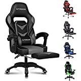 ALFORDSON Gaming Chair Racing Chair Executive Sport Office Chair with Footrest PU Leather Armrest Headrest Home Chair (Gordon Grey)