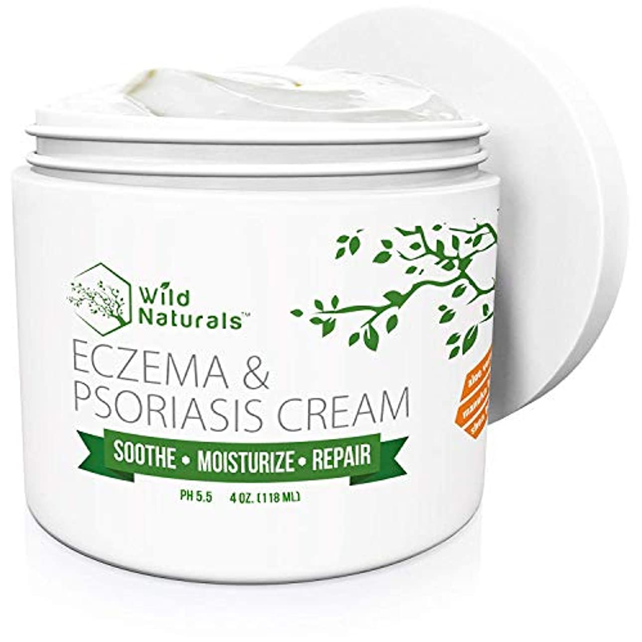 Wild Naturals Eczema Psoriasis Cream - for Dry, Irritated Skin, Itch Relief, Dermatitis, Rosacea, and Shingles...