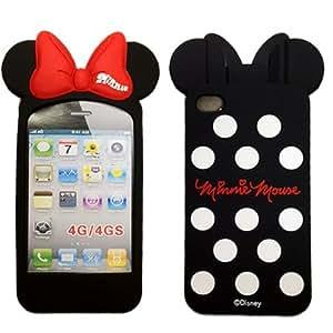 ディズニー ミッキー ミニー iPhone4/4S対応 スマホ シリコン ケース カバー 【ブラック】New