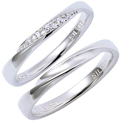 THE KISS ペアリング ペア販売 シルバー SV925 キュービックジルコニア 指輪 SR1844CB-SR1845 (女性用9号/男性用15号)