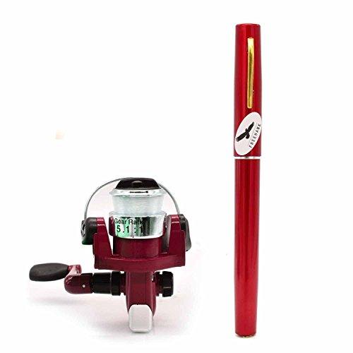 (Red) - PiscatorZone Mini Pocket Pen Fishing Rod Set Carbon Fibre Telescopic Fishing Pole Pocket Travel Fishing Kit Sea Fishing