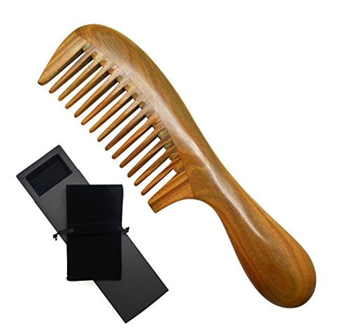Meta-C Natural Green Sandalwood Wooden Comb - NO SNAGS, NO TANGLE, NO STATIC (Short Handle - Wide Tooth) [並行輸入品]