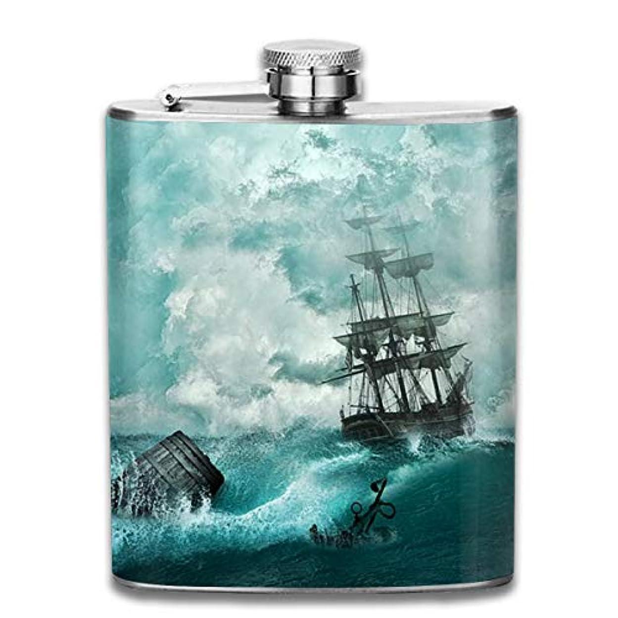 検体概念ナースブルームン 酒器 酒瓶 お酒 フラスコ 嵐 海 荒い波 ボトル 携帯用 フラゴン ワインポット 7oz 200ml ステンレス製 メンズ U型