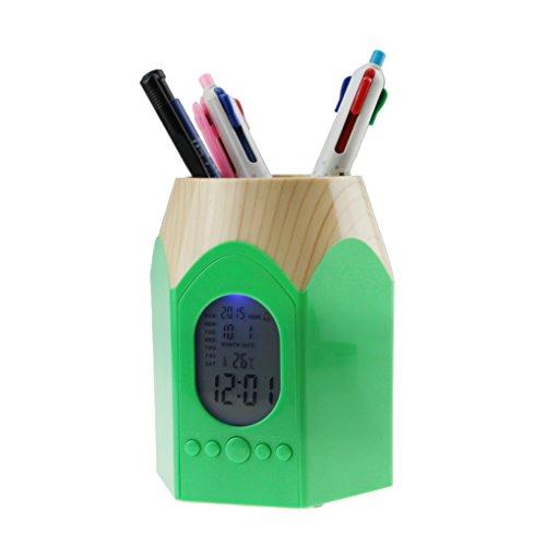 アラーム デジタルデスクペンスタンド 置き時計 可愛い電子ペン立て ペンケース ペン入れお洒落 オフィス整理整頓 目覚まし時計/温度表示/カレンダー/タイマー機能付 卓上整理ボックス グリーン
