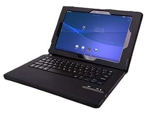 IVSO オリジナル Sony Xperia Z2 専用PUレザーケース マグネット着脱可能 一体型 Bluetooth ワイヤレスキーボード タッチペン付 (ブラック)
