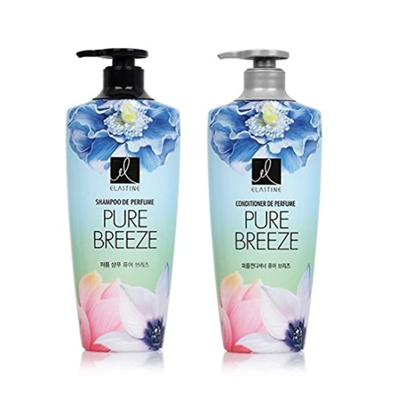 延ばす渇きアンカー[エラスティン] Elastine Perfume PURE BREEZE シャンプー600ml x 2本, コンディショナー600ml x 1本 / パフュームピュアブリーズ [並行輸入品]