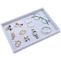 STYLIFING Velvet Multifunction Jewelry Tray Showcase Display Organizer Rings Earrings Necklaces Bracelet Watch Vintage Buttons Box for Women