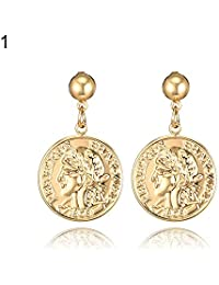 Sanwooden Gorgeous Earrings Vintage Women Coin Embossed Portrait English Letter Dangle Earrings Jewelry - 2# Earrings
