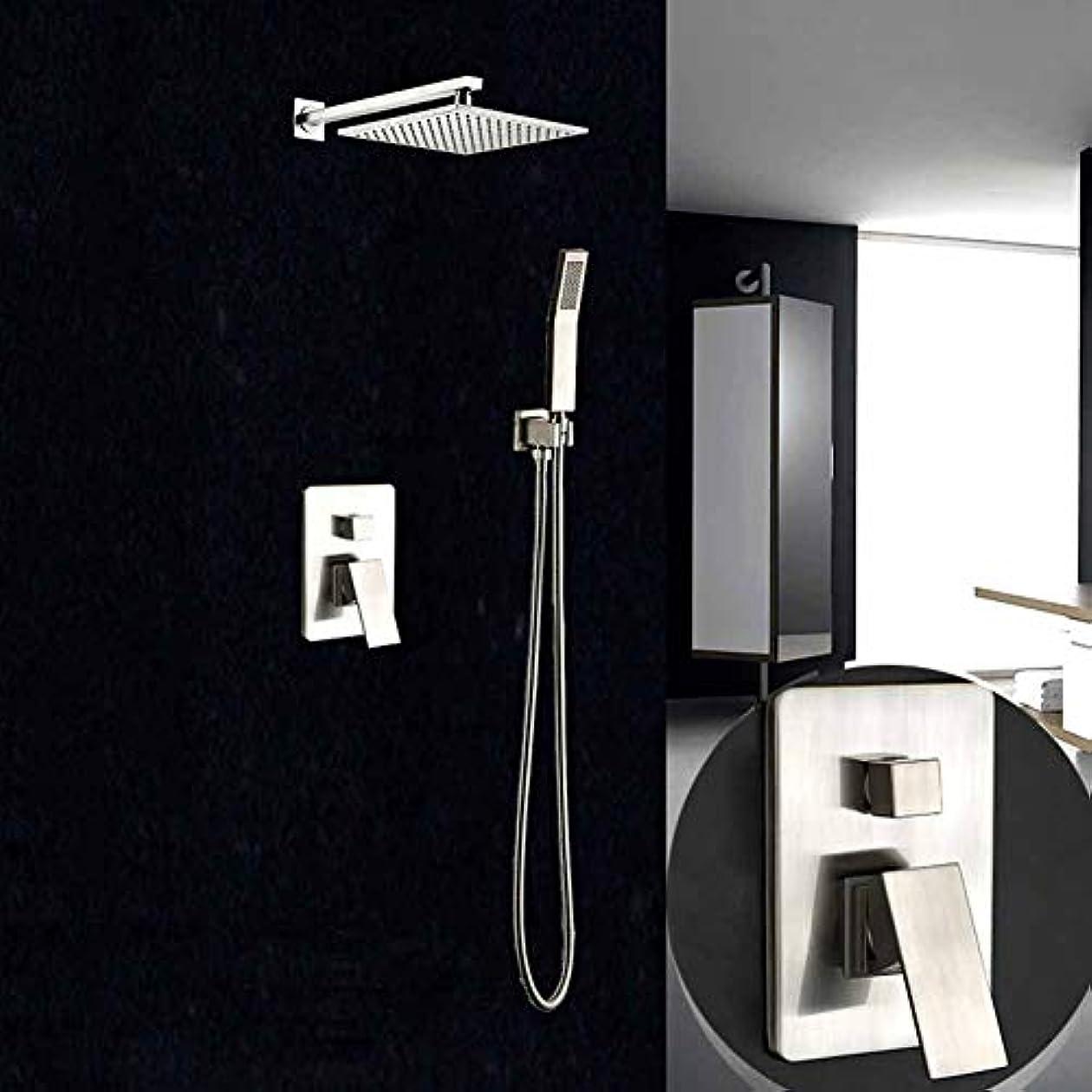 覚醒冗長スーダンシャワーシステム、ステンレススチールシャワーセットモダンソリッドブラスウォールマウントレインシャワーシステムハンドシャワー浴室シャワーバルブ(8インチ)