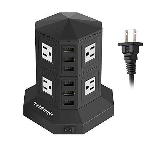 TechSimple 電源タップ USB コンセント 8個口AC差込口 USB 6ポート(最大8A/5V)急速充電可能 雷ガード 個別スイッチ 過負荷保護 新型タワー式の 電源 タップ 省エネ 12か月保証