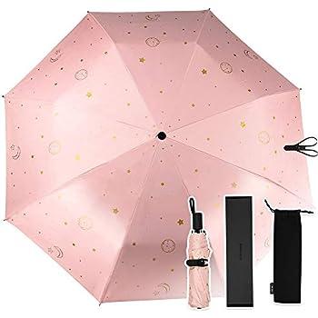 713e4af21a32 折りたたみ傘,Saiveina 日傘 ニューデザイン 100%UVカット 折り畳み傘 星月太陽柄 8本骨 晴雨兼用傘 耐風撥水 収納袋付き
