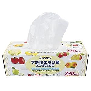 日本技研工業 Pack Do! マチ付き ポリ袋 半透明 (20cm+5cm)×35cm 厚み0.008mm 食品保存袋 エンボス加工で開きやすい 一枚ずつ取り出せる PD-F230 230枚入