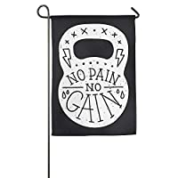 QUILO Eco-Friendly Manual Custom ホームガーデンフラグ 旗 No Pain No Gain Winter Garden Flags Decorative 12 X 18 Not Faded Yard Decorative Flag,Home Flag Demonstration Game Flag 庭の旗