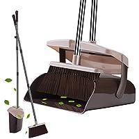 YaYbYc ほうき ちりとり セット 掃除 清掃用具 長柄 自立式 長さ調整可 89cm-126cm 伸縮可 防臭 防風 蓋付 ブラウン