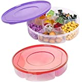 2 Pack - Candy and Nut Serving Tray with Lid, 6 Compartment Organizer, Round Sectional Plastic Food Storage Container, Divide