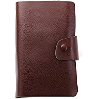 JAUROUXIYUJI Multifunction Genuine Leather Zipper Card Purse Business Card Holder for Unisex (Color : Brown)