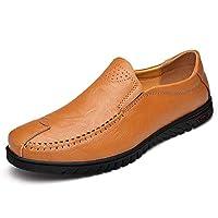 [Yingkou] ドライビングシューズ メンズ 紳士靴 レザー 夏 耐磨耗 通気 軽量 シンプル 全3色 ローファー (Color : 黄, サイズ : 25.5 CM)