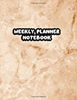 Weekly Planner Notebook: 52 Weeks Undated with To-Do List and Notes Daily Organizer For Men Boys School College | Yellow Marble Cover Print