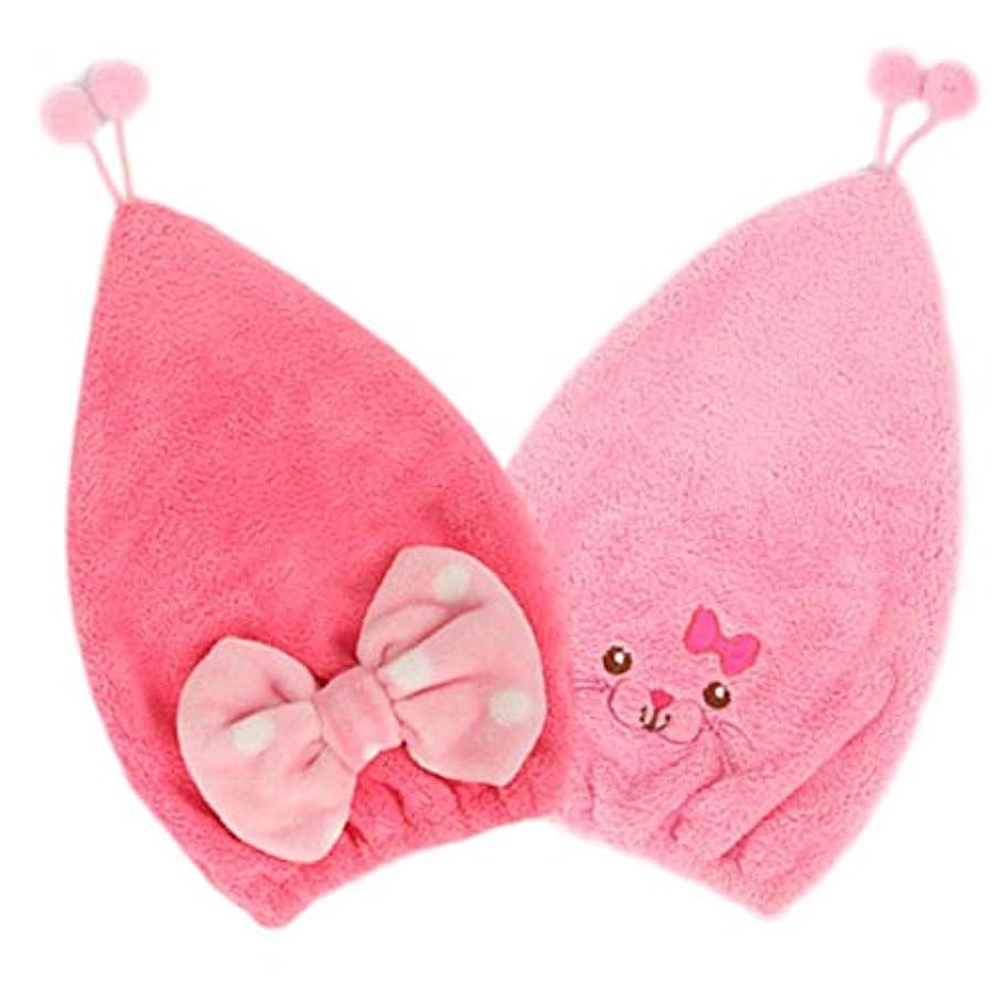 とても多くの固執基準プール タオルキャップ キッズ 子供 キャップ タオル ヘアターバン 吸水 きゃっぷ 女の子 バスキャップ (リボン&ピンク)