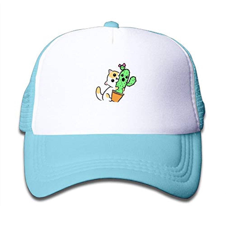 子ども グリッドキャップかわいい サボテン 猫 おしゃれな 軽量 メッシュ帽子 オスとメス 通用