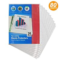 "Top Loading Sheet Protectors Holds 8.5"" x 11"" Paper Fits in Standard Three Ring Binder Documents can be Inserted from The Top Hole Punching is not Necessary - 20 Per Pack (Pack of 4) - by Emraw [並行輸入品]"
