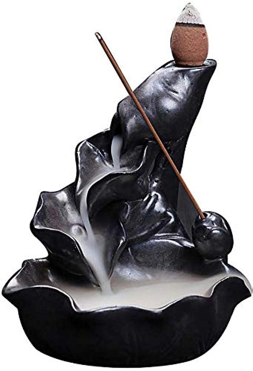 非効率的なローブアルバニー香炉、逆流香ホルダーセラミックロータス葉香コーンコーンバーナー香スティックホルダー,Black