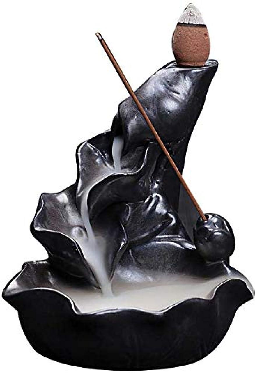 ベリパリティ脚香炉、逆流香ホルダーセラミックロータス葉香コーンコーンバーナー香スティックホルダー,Black