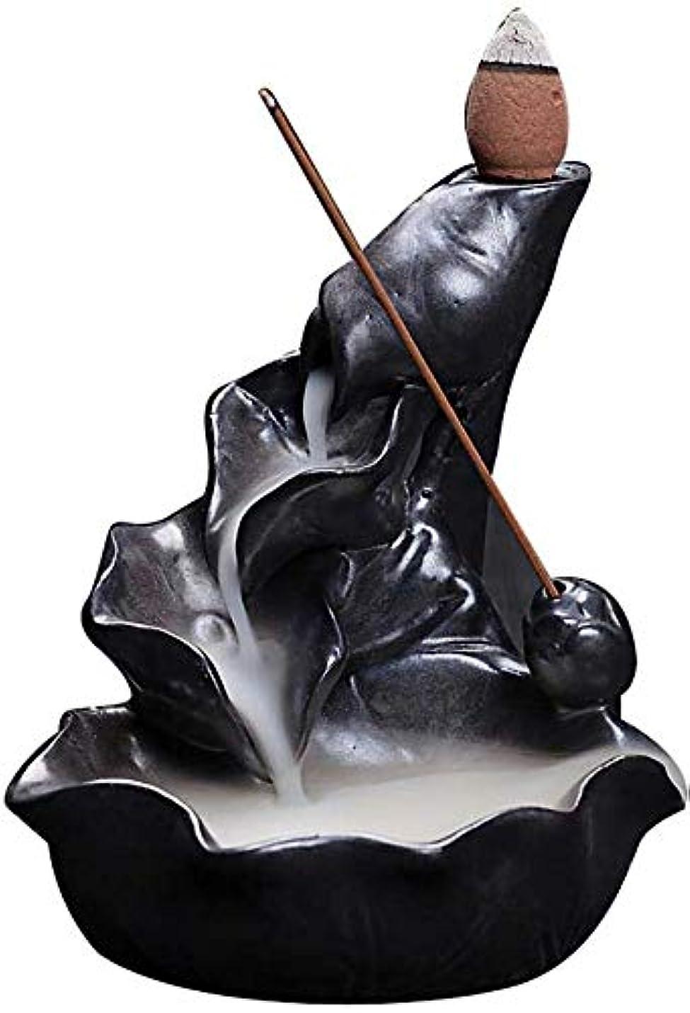 研磨剤絡み合い殉教者香炉、逆流香ホルダーセラミックロータス葉香コーンコーンバーナー香スティックホルダー,Black