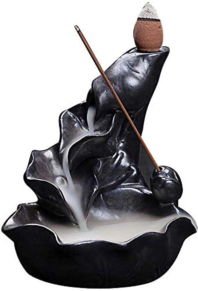 うめきオリエンタルインレイ香炉、逆流香ホルダーセラミックロータス葉香コーンコーンバーナー香スティックホルダー,Black