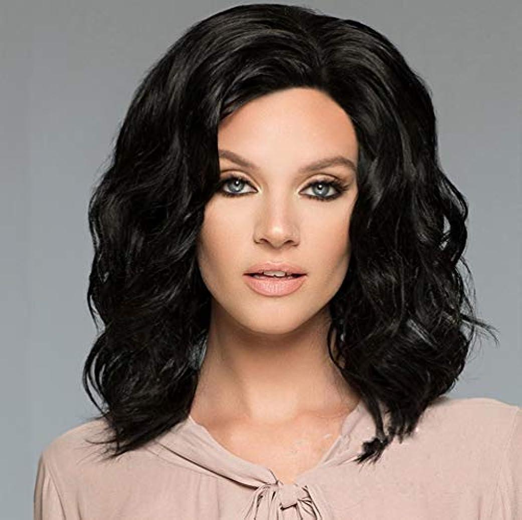 バルセロナアナロジー下線女性150%密度ウィッググルーレスショートボブヘアウィッグ波状で少しベビーヘアブラック35cm