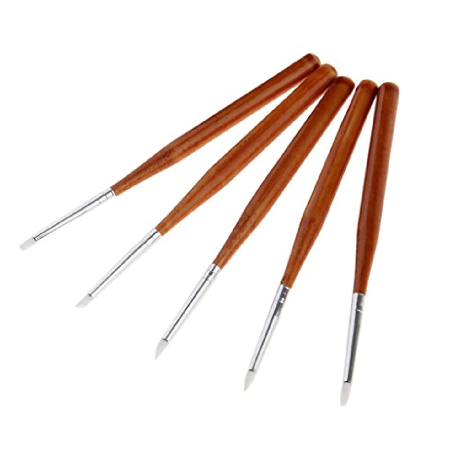 洗剤けがをする南東5本 ネイルアートペン ネイルブラシ ネイル 彫刻ペン 高品質 シリコンヘッド DIY 3タイプ選べる - 13cm