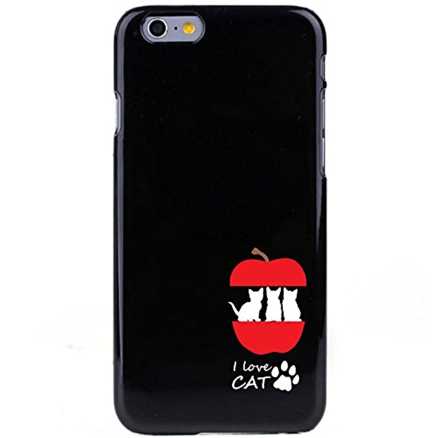 大声で口ひげ時々時々otas 4.7インチ対応(iPhone6s/6) カバー ハードケース ポリカーボネイト ブラックベース ねことりんご 888-36288