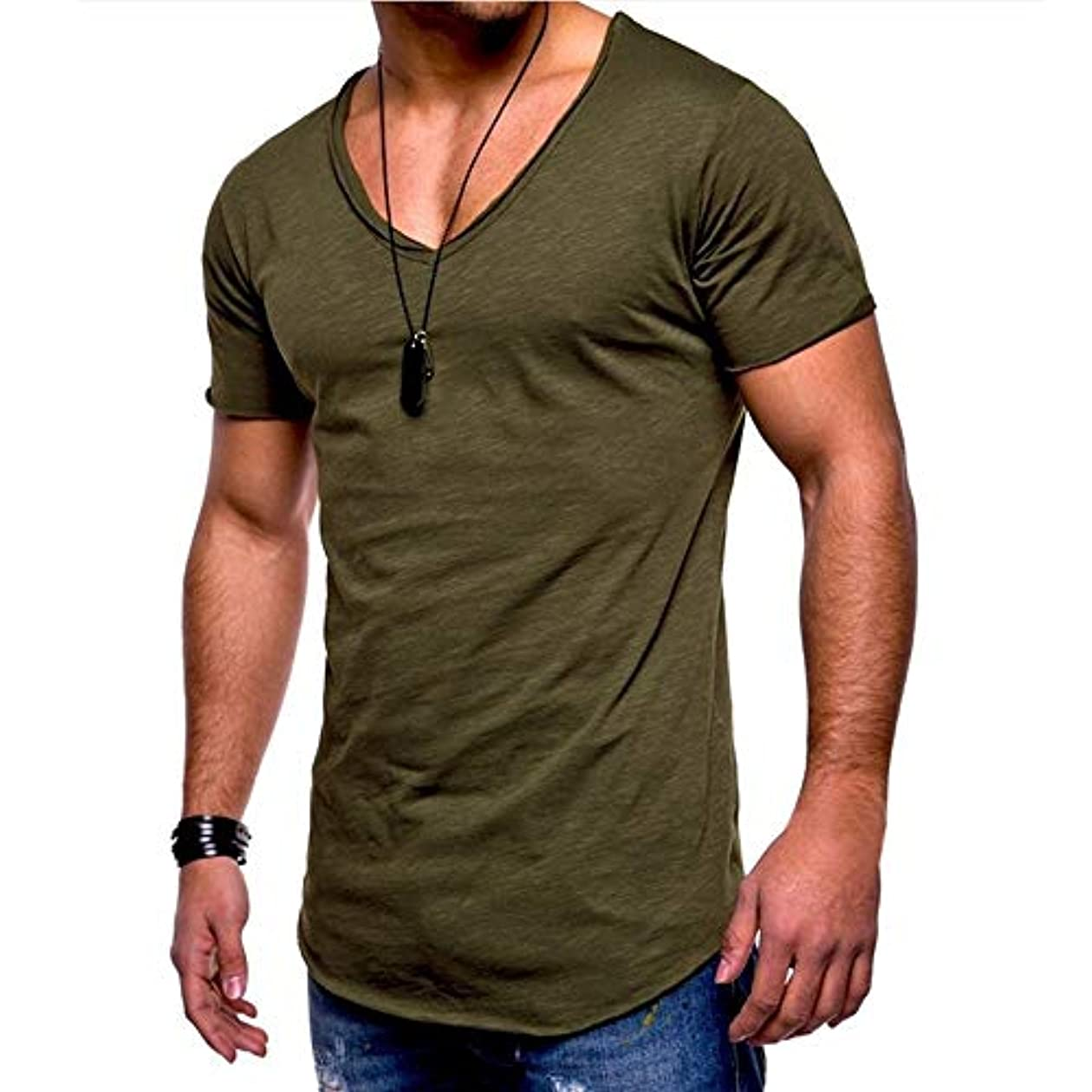 適切に好意的電気のMIFAN メンズTシャツ、カジュアルシャツ、半袖、コットンTシャツ、Vネックシャツ、スリムTシャツ、トップス&Tシャツ、メンズトップス