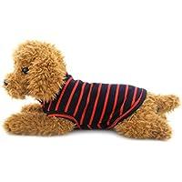 Ranphy 猫 ネコ ねこ 洋服 春夏 タンクトップ ストライプ Tシャツ ノースリーブ 犬の服、小型犬、チワワ ドッグウェア レッド L