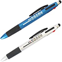 南三陸モアイファミリー 3色 (赤・青・黒) ボールペン タッチペン付き ブルー・シルバー 2本セット スタイラスペン かわいい キャラクター おもしろ おしゃれ 文房具