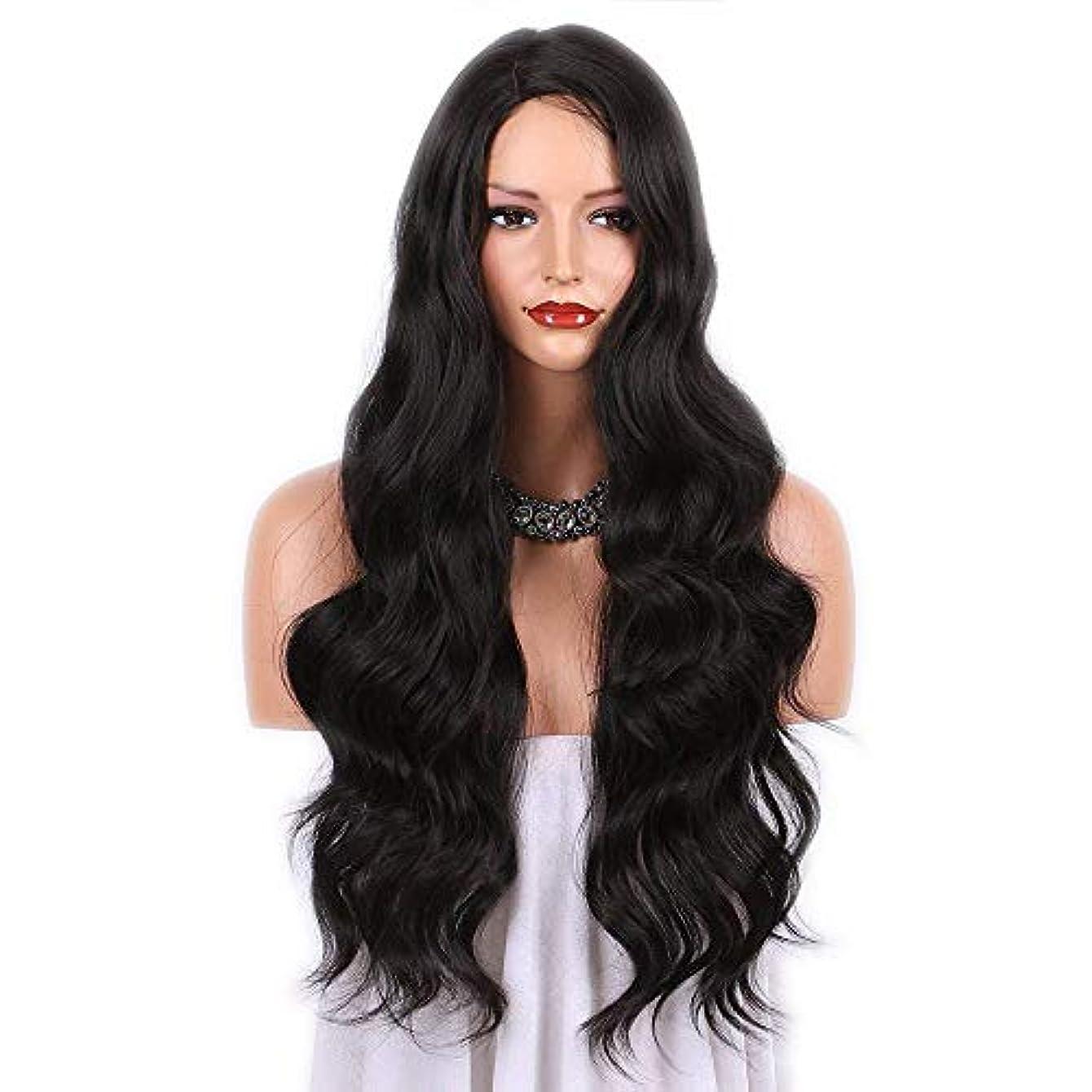 親密なアコー評判WASAIO 女性用ブラウンブラックロング巻き毛ヨーロッパとアメリカのファッションウィッグスタイル交換用ビッグアクセサリーウェーブミドルパーツ (色 : 黒)