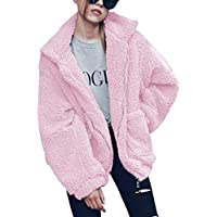 Hibluco Women's Long Sleeve Lapel Faux Fur Zip up Fleece Coat