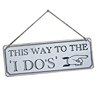 Fenical Wooden Hanging Decorative Plaques This Way to The I Do Weddings Ornaments Accessory (White) [並行輸入品]