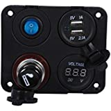 Keenso 12V Power Socket Dual USB Charger Switch Panel ON-Off Button Switch 4 Hole Panel for Car Boat Marine Truck Motorcycle RV