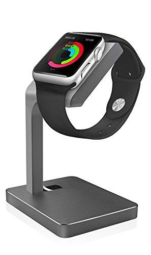 iDudu Apple watch スタンド 充電 38mm 42mm 対応 アルミニウム製 アップルウォッチ専用充電 クレードル (スペースグレイ-01)