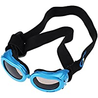 UEETEK ペット犬 UVプロテクションサングラス 防風 防水 犬用折りたたみ式サングラス S(ブルー)