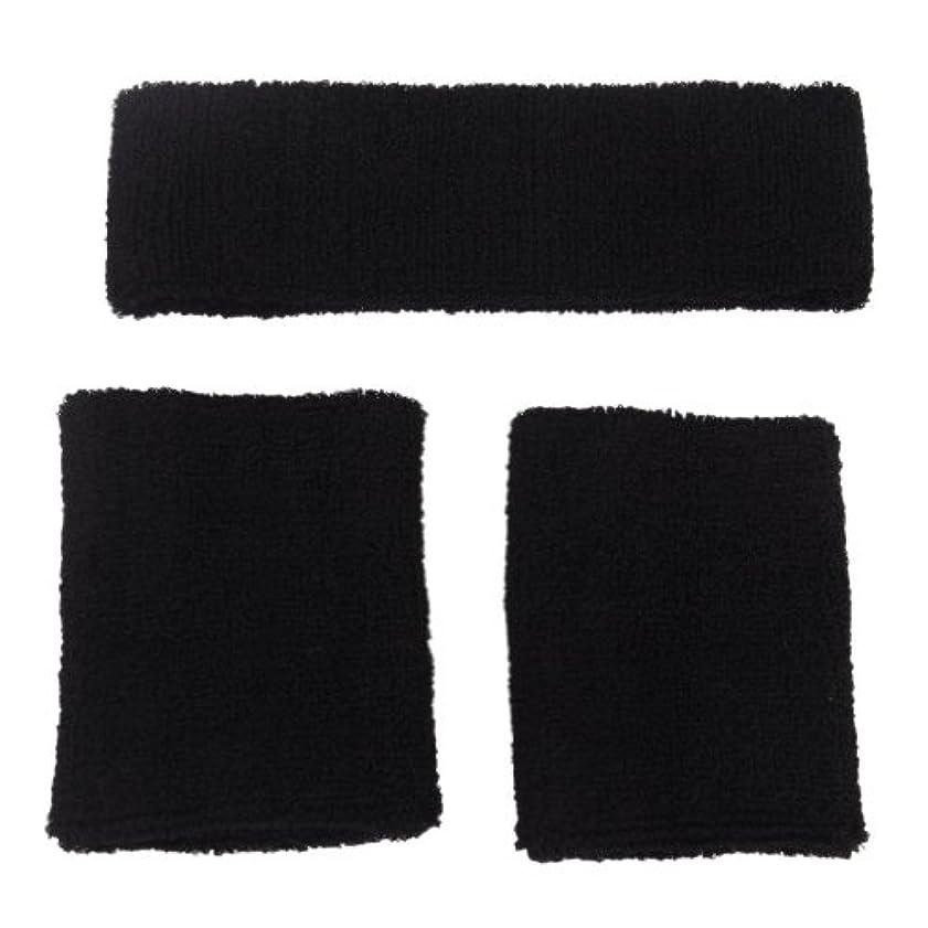 自動草切断するCikuso 1xスポーツ用ヘッドバンドと2x弾性ブレスレット - ブラック