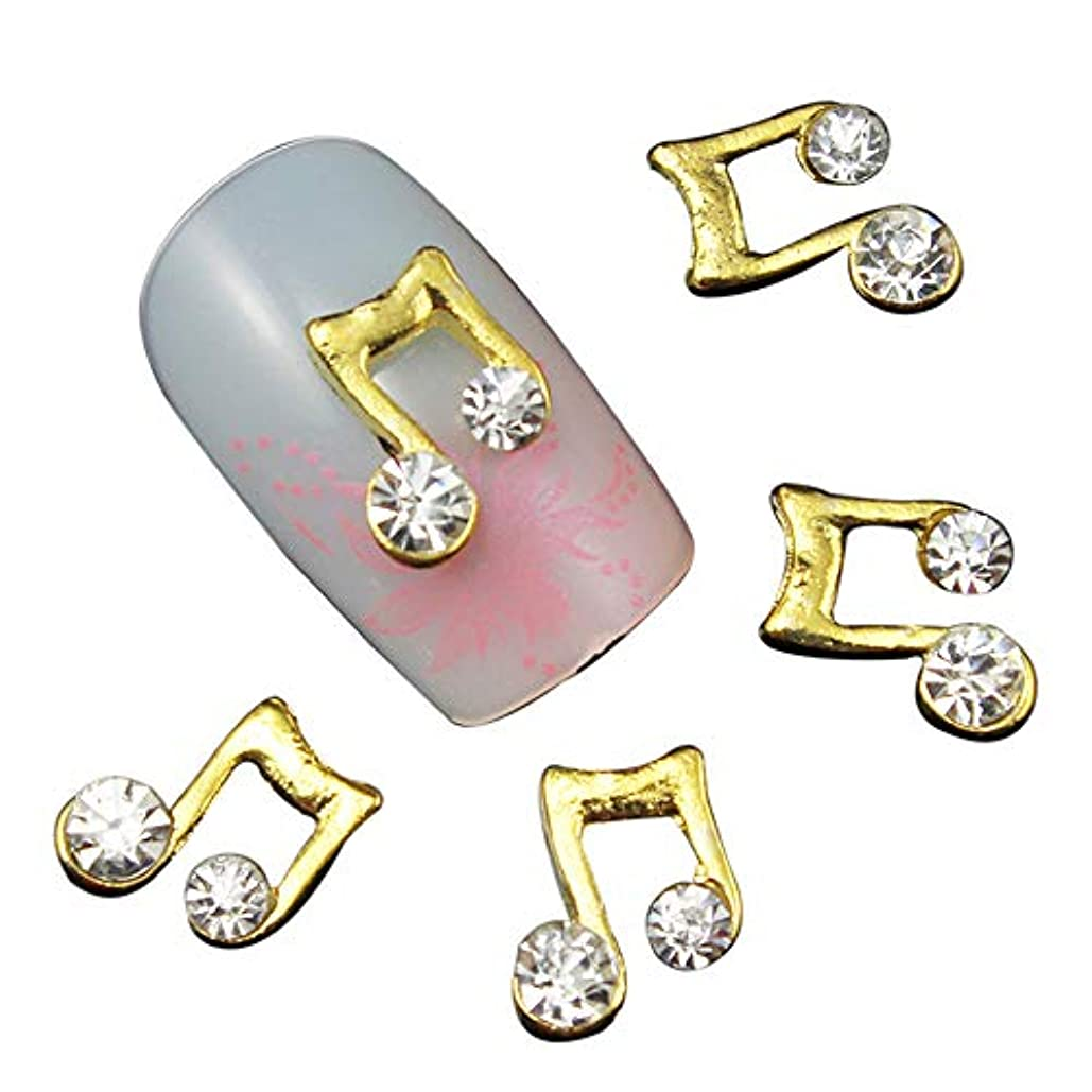 ズーム爪終わったネイルズゴールドチャーム3Dネイルアートの装飾のために10個の音楽ノートネイルスタッド金合金グリッターラインストーン