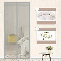静かな夏 磁気カーテン、フルフレームベルクロ マグネット付き簡単網戸 玄関網戸 自動で閉-70×200センチメートル(28×79インチ)-E