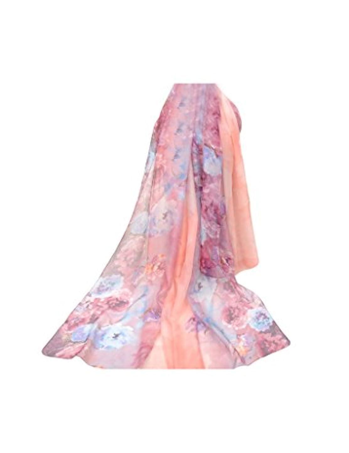 内向き無視するペーストビエスディディ レディース フェイクシルク 花柄 防寒 ロング スカーフ