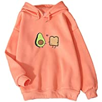 KEEVICI Cute Avocado Vegan Bread Cartoon Hoodies for Women (Orange,XXL)