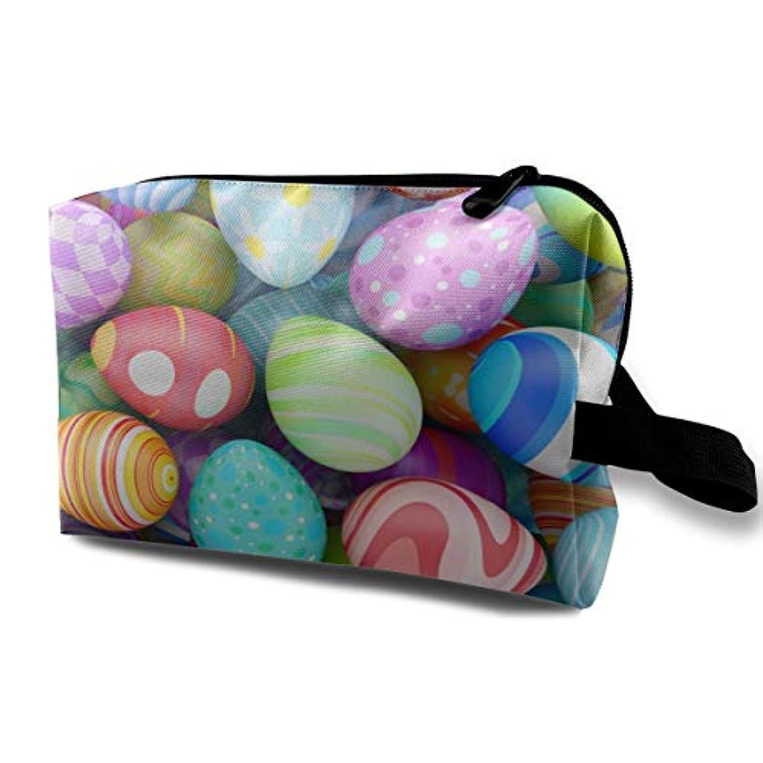 蓮銀バッジColorful Beautiful Easter Eggs 収納ポーチ 化粧ポーチ 大容量 軽量 耐久性 ハンドル付持ち運び便利。入れ 自宅?出張?旅行?アウトドア撮影などに対応。メンズ レディース トラベルグッズ