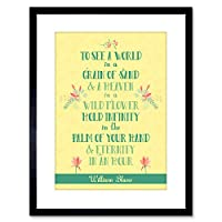Quote Typography Motivation World Grain Sand Blake Framed Wall Art Print