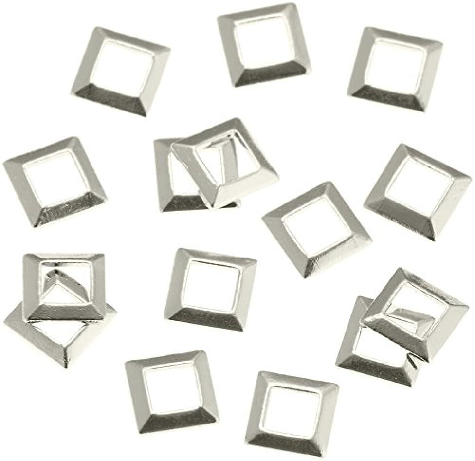 ウガンダ鋼雑品リトルプリティー ネイルアートパーツ スクエア スカシ シルバー 50個