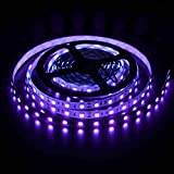 LED Black Light Strip USB Operated 2M/6.6ft 5V 120 SMD5050 Real Purple LEDs 395nm-405nm Blacklight for for Fluorescent, 3D Pr